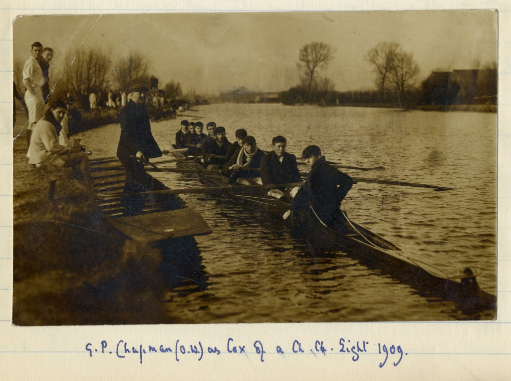 Photograph of Chapman rowing at Oxford