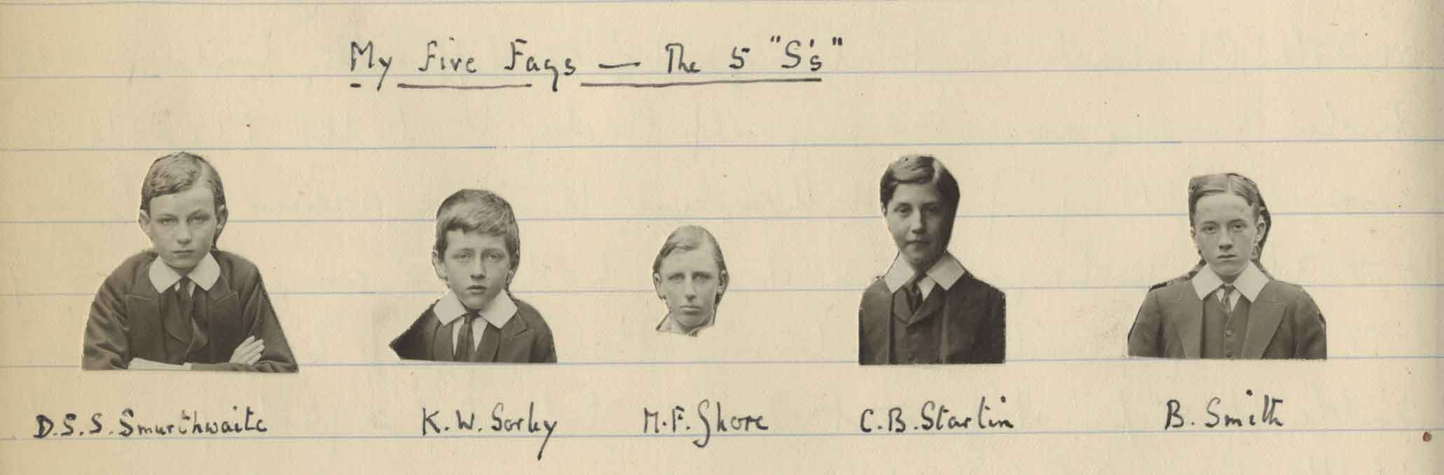 Photographs of five boys