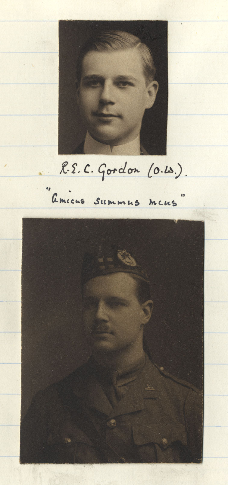 Two photographs of Gordon